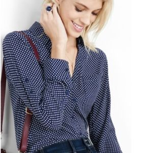 Blue Polka Dot Slim Fit Portofino Dress Shirt